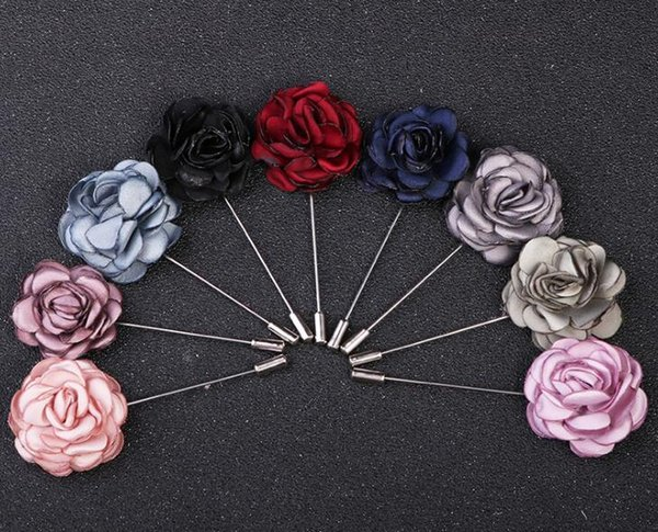 114036ff5 Camellia Flower Boutonniere Stick Brooch Pin Mens Suit Accessories Woman  Cloth Lapel Pin Brooch best Jewelry
