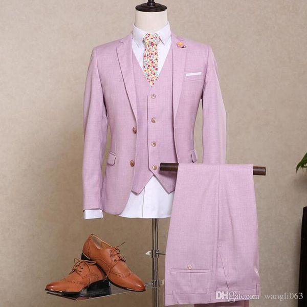 Pink Wedding Groom Tuxedos 2018 Trim Fit Notched Lapel Three Piece Men Suits Custom Made Groomsmen Suits (Jacket + Pants +Vest )