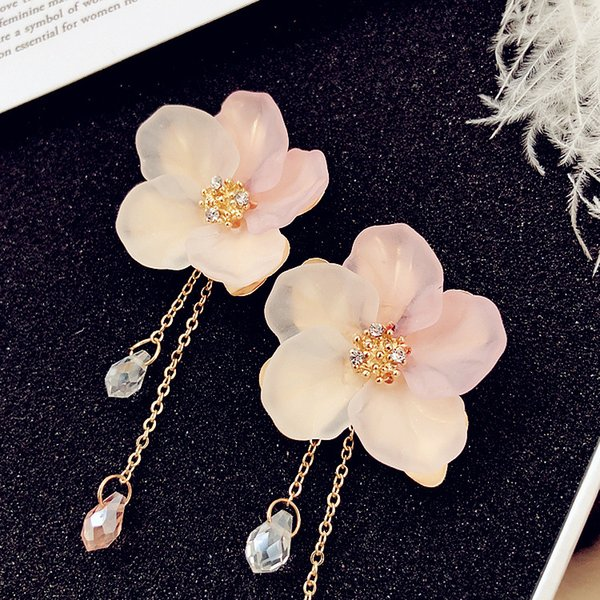 Drop Earrings For Women Jewelry Sweet Acrylic Shell Tassel Earrings Temperament Frosted Petal Crystal Flower Long Pendant Earrings