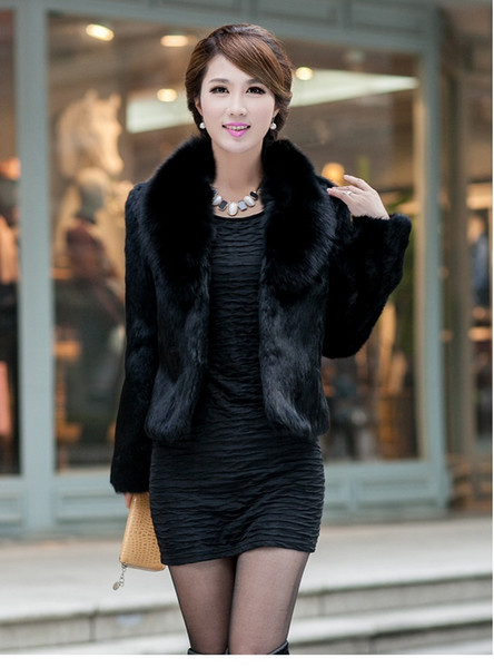 Black/White Womens Winter Autumn Short Section Faux Fur Jackets Man-Made Rabbit Fur Collar Casual Coats Casaco Feminino K300