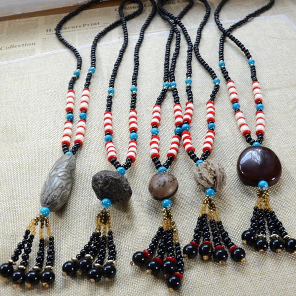 Vintage handgemachte Rudraksha Bodhi Buddha Holzperlen Halskette lange Pullover Kette Wolf Zahn Anhänger für Männer und Frauen Schmuck