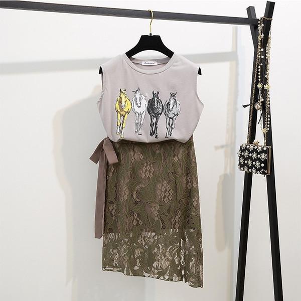 2019 Summer Fashion Women Suits Sexy Sleeveless Vest O Neck Cotton T Shirt + Elegant Irregular Lace Split Skirt Two Piece Sets