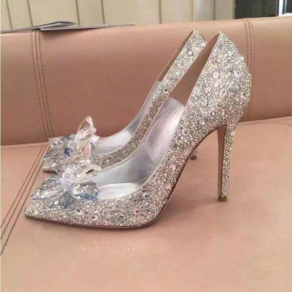 Womens Top Grade Cinderella Crystal high heels Shoes Bridal Rhinestone Wedding Shoes With Flower Genuine Leather Big Small Size 33 To 40