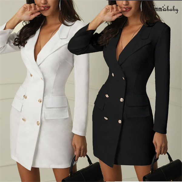 2019 Brand new Women Formal Slim Doppio petto lungo trench Coat Outwear Dress Trench Overcoat Belt nuovo