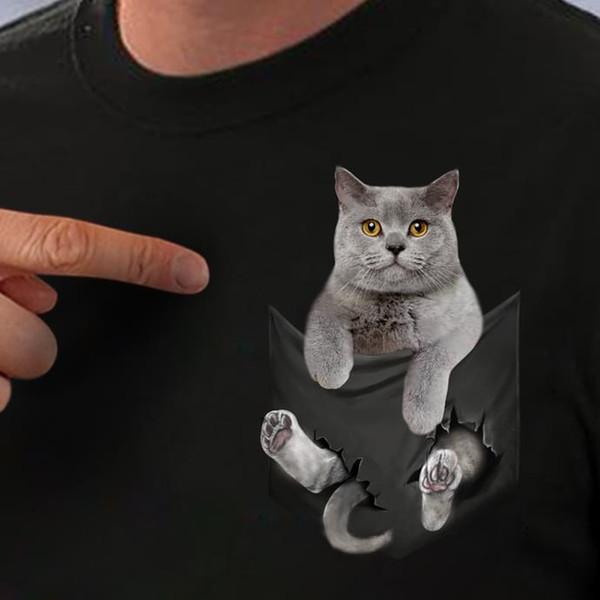 Britanya ile ilgili stenografi kedi cep kedi severler siyah pamuk erkekler s-6xl abd stok mens gurur koyu tişört fan pantolon t shirt