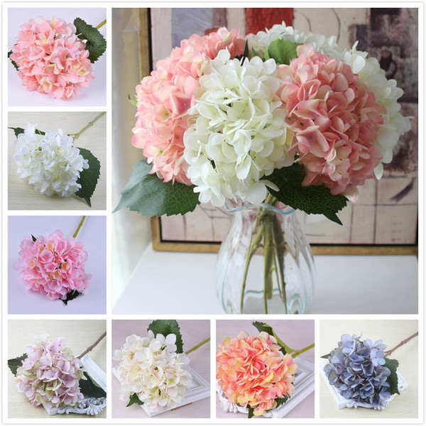 top popular 18 colors artificial hydrangea flower fake silk single real touch bouquet hydrangeas for wedding centerpieces home party decorative flowers 2021