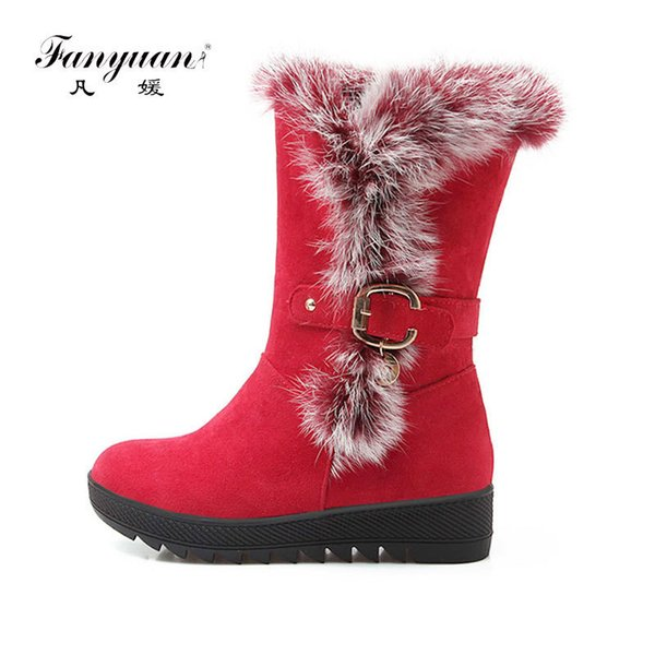 Fanyuan winter snow boots Increased Height Fur Snow Boots with Warm Plush Platform Mid Calf Faux Suede Ladies Winter Boots