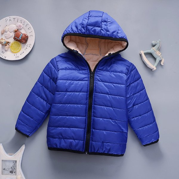 1205 children winter cotton jacket boy soild color clothing warm thick hooded outerwear teenager clothing parka