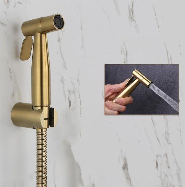 top popular Brushed Gold SUS304 Wash Seat Hand Held Shower Head Bidet Spray Sprayer Toilet Shattaf Kit Set 2021