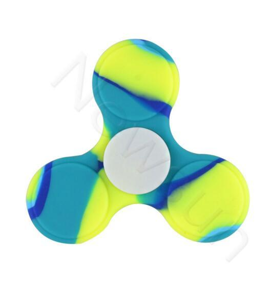 Novelty Colorful Triangle Silicone Hand Spinners Camouflage Fidget Spinner Silica Gel Finger Toy Decompression Spinning Top With Retail Box