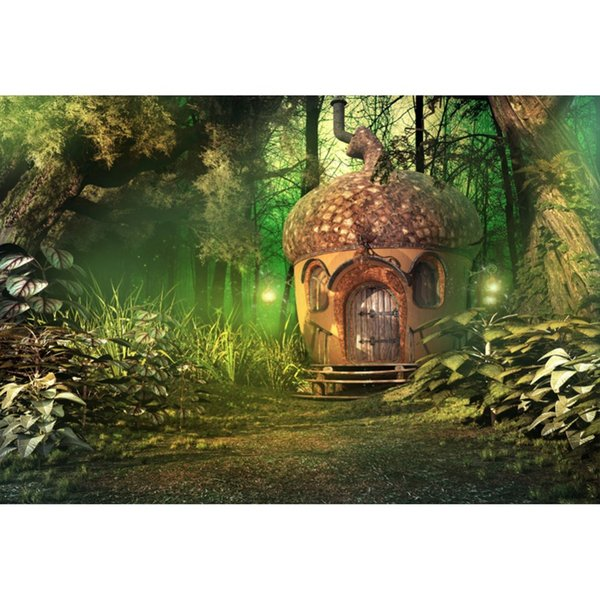 Laeacco Green Forest Tree Fairytale House Grass Light Baby Child Wallpaper Photo Backgrounds Photo Backdrops For Studio