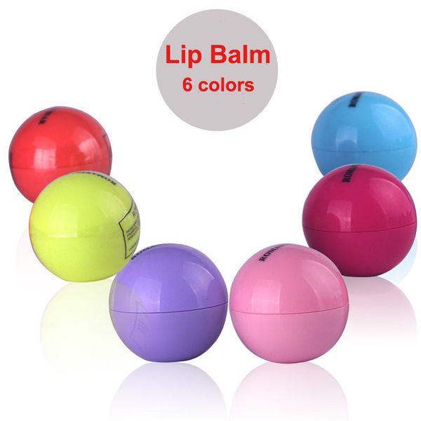top popular Cute Round Ball Lip Balm 3D 6 Colors Lipbalm Fruit Flavor Lip Smacker Natural Moisturizing Lips Care Balm Lipstick free shipping 2021