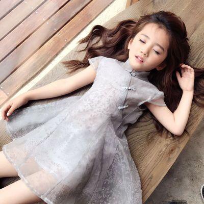 Kız elbise yaz elbise cheongsam 2019 yeni çocuk giyim kız prenses elbise retro iplik etek çocuk yaz etek çocuk giyim