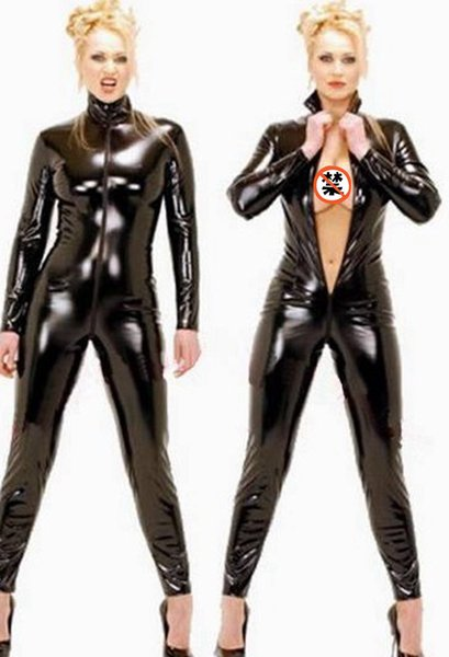 Sexy wetlook preto catwomen macacão de pvc spandex látex catsuit trajes para as mulheres ternos do corpo de couro fetiche vestir plus size 4xl mx190726