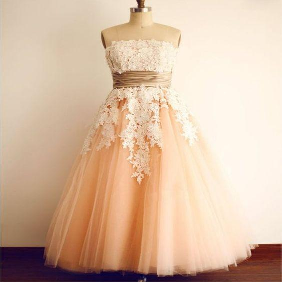 Strapless Tea Length Vintage Party Dress with Lace Sleeveless Semi Formal Dress