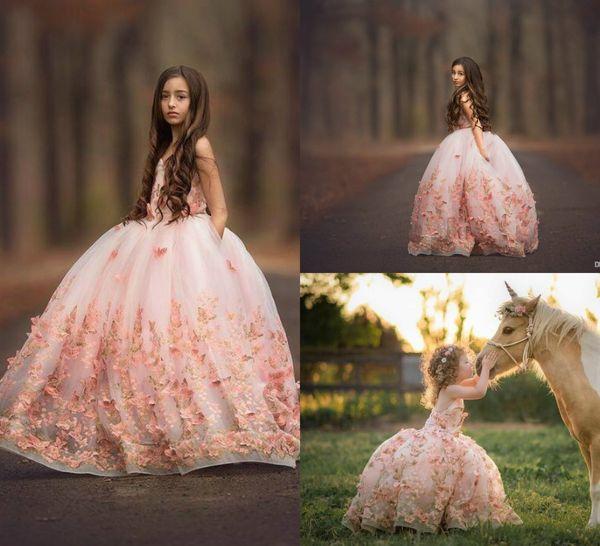 2019 Cute Blush Pink Girls Pageant Vestidos Mariposa Apliques 3D Lace Toddlers Girls First Holy Communion Flower Girl Dress para la boda