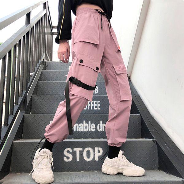 Pantaloni da donna autunno Streetwear Pantaloni cargo casual Pantaloni da donna Pantaloni da donna larghi a vita alta tascabili a tinta unita