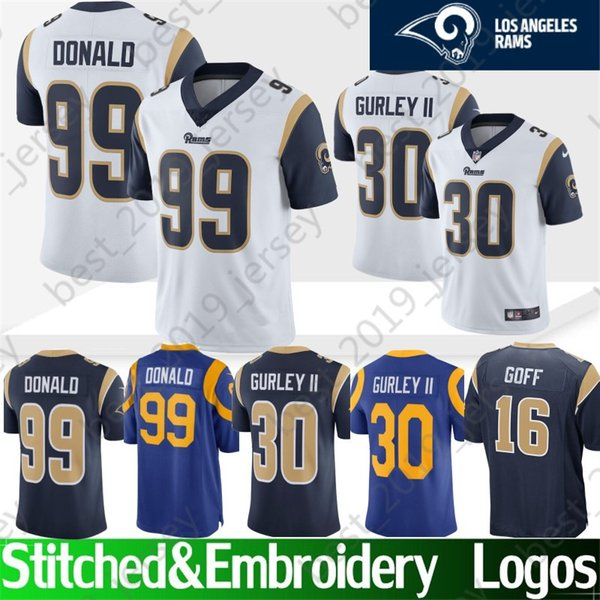 wholesale dealer 6999c 4770d 2019 Stitched Los Angeles 30 Todd Gurley Rams Jersey 99 Aaron Donald 90  Aaron Donald 5 Nick Foles 16 Jared Goff Top Quality Jerseys From ...