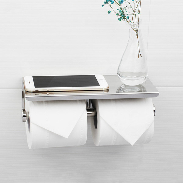 Mirror polishing Toilet Paper Holder With Double Papers Viable Long Place Platform 304 Stainless Steel Paper Rack