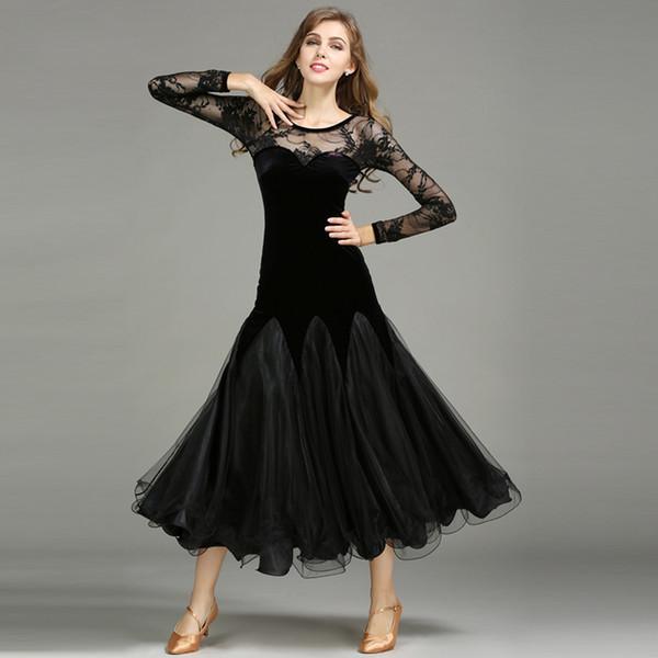High Quality Ballroom Dance Competition Dresses For Women Sexy Standard Dance Waltz Salsa Dancing Velvet Clothes 3 Colors DC1796