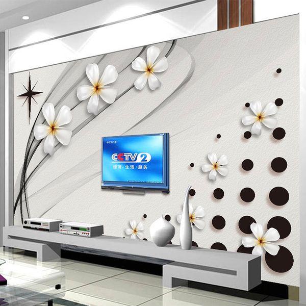 현대 패션 벽화 배경 3D 스테레오 흑백 세라믹 꽃 사진 벽 그림 거실 TV 소파 배경 벽 3D