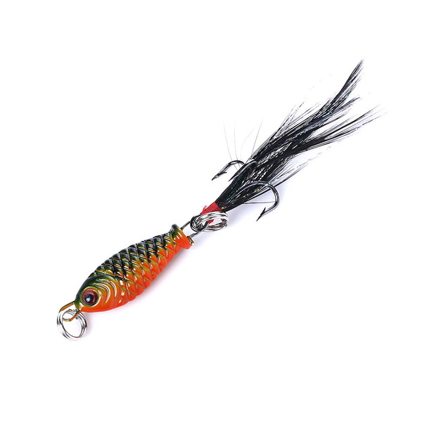 top popular HENGJIA 100pcs lot 2.5cm 5g 3D Eyes Mini Package Lead Fish Feather Road sub bait metal Fish bait Free shipping 2021