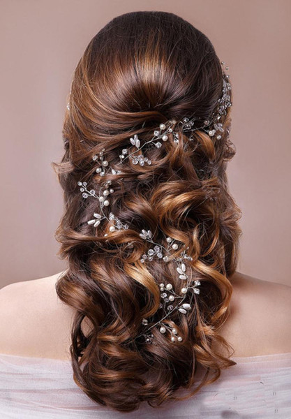 Trendy Gold Silver Pearl Wedding Long Headband tiara For Wedding Bride Hair Accessories Handmade Rhinestones Women Hair Jewelry