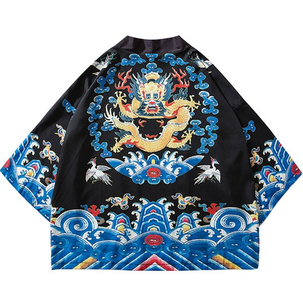 Harajuku Kimono Jacket Japanese Hip Hop Men Streetwear Jacket Ancient Chinese Robe Dragon Summer Thin Retro Style tops Q002