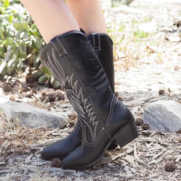 Desnuda rodilla Negro bordado Suede botas altas de las mujeres del dedo del pie zapatos de tacón gatito invierno cargadores largos Pisos Knight