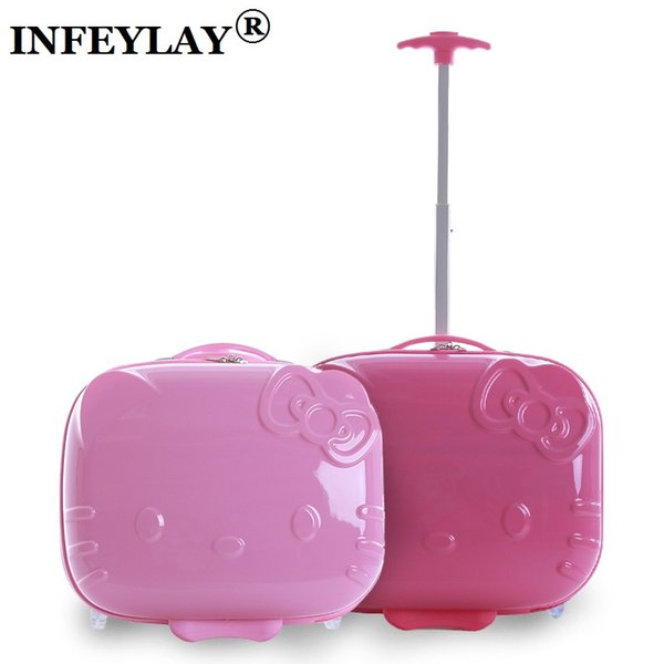 9461584f1 HOT hello Kitty 17 inch ABS+PC girl cartoon Student trolley case 3D child  Travel