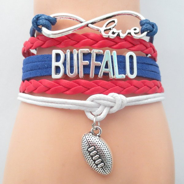 Gioielli Infinity Love Buffalo Football Team Braccialetto Royal Blue Red Bianco Sport amicizia bracciali B09051