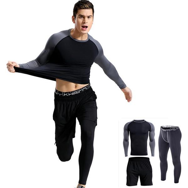2019 Kış Crossfit t-shirt Tayt Seti Erkek Giyim Termal Iç Çamaşırı Rashgard MMA Sıkıştırma 3 parça eşofman erkekler Markalar