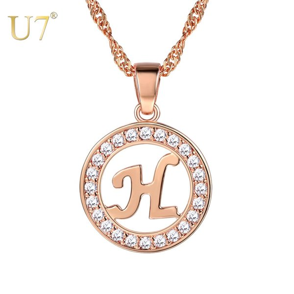 U7 Initial Necklace Rose Gold Color Necklace Alphabet Pendant for Women Girls Accessories English Initial Jewelry Gifts P1227