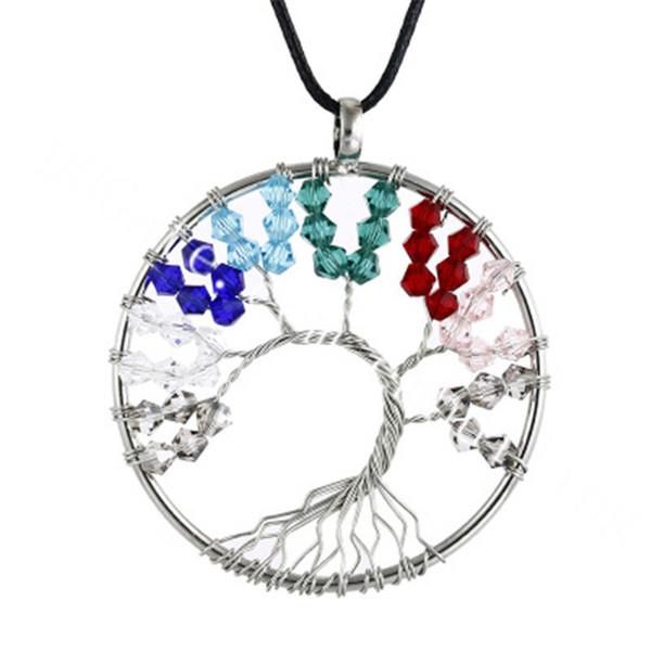 10pc plaqué argent arbre de vie perlé fil enroulé collier rose vert bleu rouge cristal perles de rocaille en verre arbre branche ronde pendentif collier