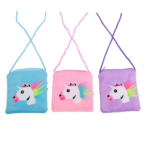 2019 Unicorn Kids Coin Purse Cartoon Messenger Bag Children Zipper Pouch With Rope Cute Cosmetic Bag Infantil Snack Bag Furry Pocket A3114