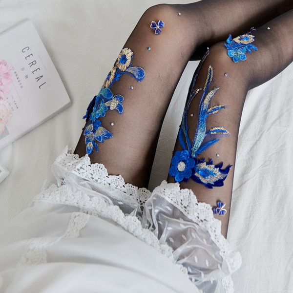 Strumpfhosen MS manuelle Stickerei Blumenart Kirschstrümpfe blau verzaubertes Muster Anti-Haken Maske trifft neuen Artfabrikgroßverkauf hart