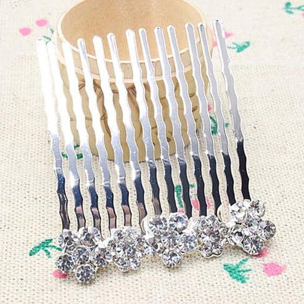 Rhinestone Flowers Hair Comb Clip Wedding Bridal Alloy Hair Pins Women Jewelry Styling Brush Girl Female Gift 4cmx5.5cm Gifts