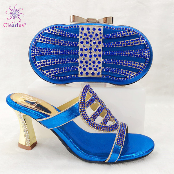 2019 Special Design Classics Style Shoes And Bags Set African Fashion Shoes And Hand Bag Set For Wedding Dress in Royal Blue
