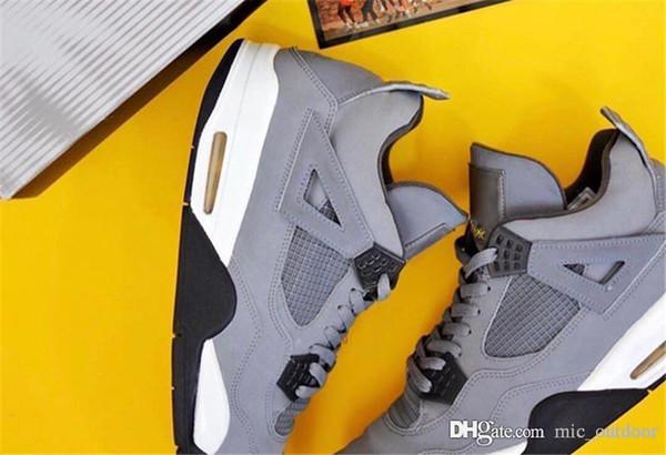 2019 New Authentic Air Cool Grey 4 308497-007 4S IV Wildleder Herren Basketball Schuhe Sport Turnschuhe Gelb OutDoor Stiefel Mit Box US7-13