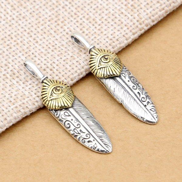 Personnalité de plume de bijoux en argent pur S925 avec collier pendentif collier