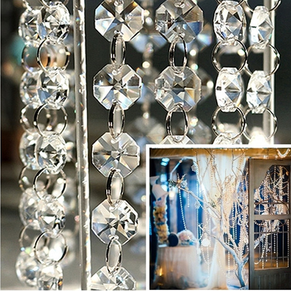 33ft/66ft/100ft DIY Clear Acrylic Crystal Bead Garland Chandelier Hanging Wedding Supplies Home Fashion Decor