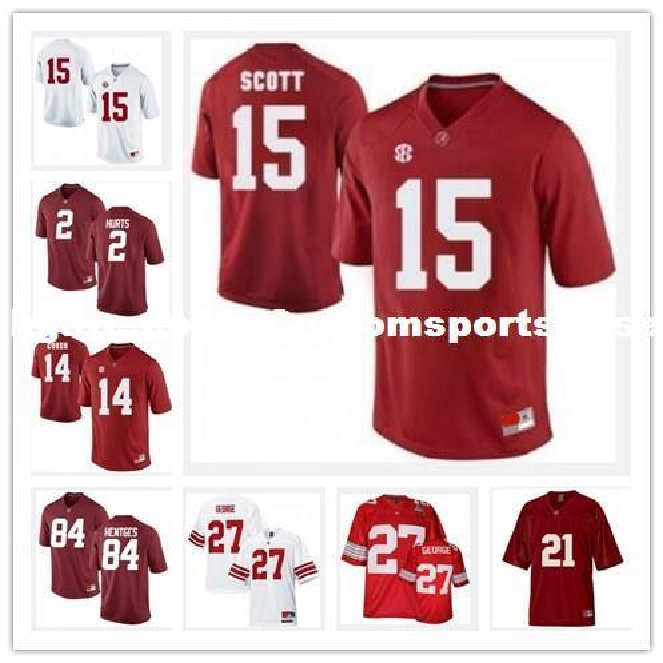 maillots de football Alabama Crimson Tide Mark Ingram Marquis labyrinthe Nick Saban Rolando McClain T.J Yeldon Trent Richardson cousu