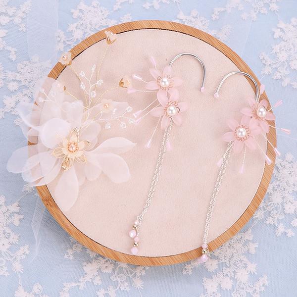 Tatlı Pembe Çiçek Simüle İnci Takı Setleri Kadınlar Saç Klip Küpe Set Gelin Saç Pins Düğün Tiaras Aksesuarları VL