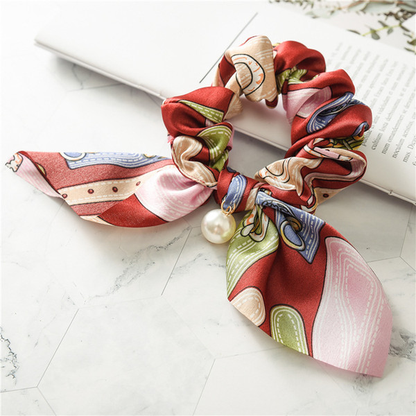 Print Rabbit Ears Hair Scrunchy With Pearl For Women Lady Satin Elastic Hairband Hair Tie Rope Girls Hair Accessories