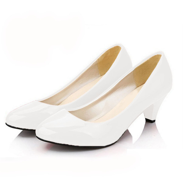 retail prices crazy price best selling Designer Dress Shoes Women'S Nude Color Patent Leather Med Heels 2019 New  Classic Black White Pumps For Office Ol Ladies Mujer Zapatos Men Sandals ...