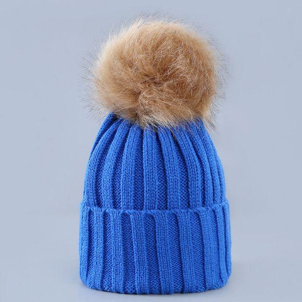 Cute Winter Mom Women Baby Kids Crochet Knitted Hat Caps Children Girl Boy Wool Fur Bobble Ball Pompom Beanies Hats