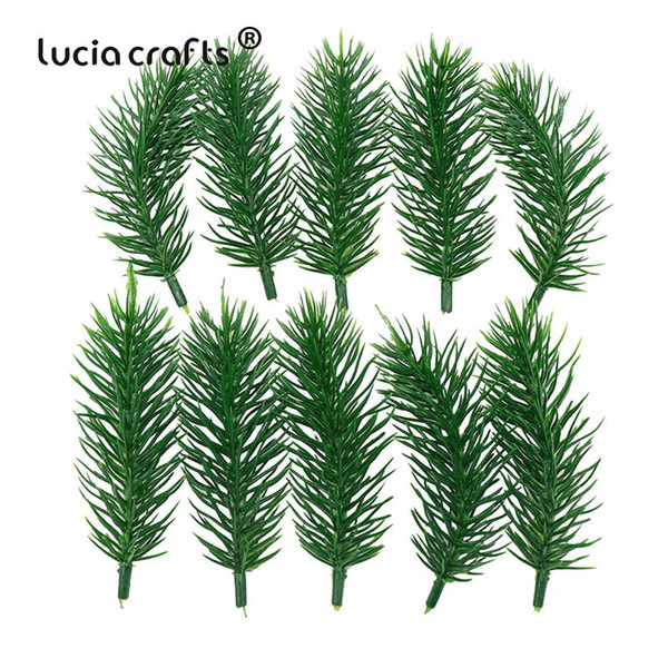 10PCS 10cm Plastic Flowers Artificial Green Plants Pine needles Household Christmas craft Decoration Kids Gift Bouquet 027034051 C18112601