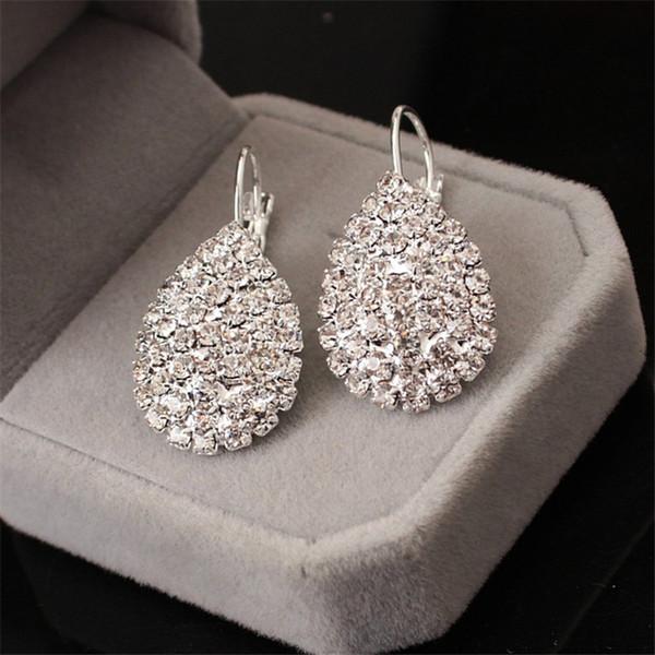 silver color crystal wedding bridal hoop earrings for women big teardrop long earrings brides engagement jewelry ef017