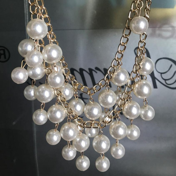 new jewelry european fashion punk female noble double layer pearl tassel exaggerated royal short necklace women