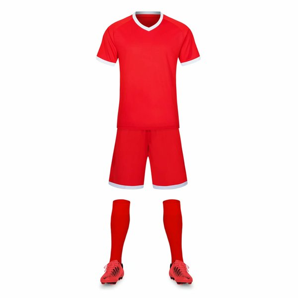 wholesale Customized men Football Uniforms mens kits Sports clothes tracksuits Discount Cheap boy Football Sets tops With Shorts B36-031
